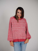 Deep and light rose henley style sweater