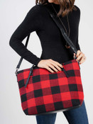 Red black wide plaid check tote bag vegan leather