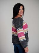 Loose knit wide neck sweater with black/white, magenta/white, khaki/white, and white stripes.
