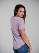 Lavender ultra-lightweight short sleeve sweater tee with ruffled details on the sleeves