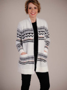 Fuzzy soft with white on black two-tone knit, and details in black and multi-color geometric patterns