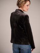 Classically cut dark gunmetal gray velvet jacket
