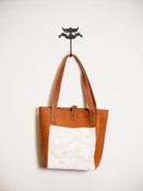 Mini Simple Tote in Indio Whiskey and White