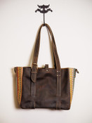 Mini Market Tote in Chocolate & Vintage Accents