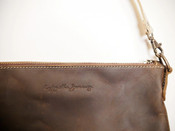 Large Crossbody Handbag in Chocolate with Contrasting Natural Strap