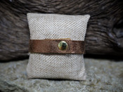 Bronze Leather Bracelet With Gold Oval Accent