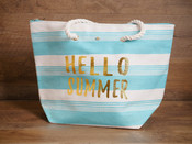 Large Straw Tote - 'Hello Summer'