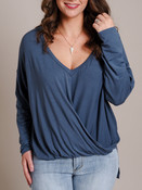 blue high low v-neck gathered waist top