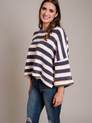 Cropped Navy and Orange Striped Sweater