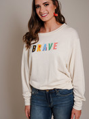 brave multi color graphic pullover sweatshirt
