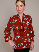 rust floral print bow top