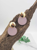 Gold round pink earrings