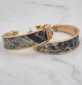 gold hoop faux leather python
