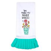 cotton tea towel you make my heart smile gift kitchen
