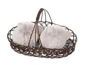 White Ceramic Bird Salt & Pepper Shakers in Wire Basket.