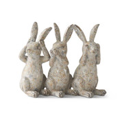 Grey Distressed Resin Hear, Speak & See 3 Bunnies Figure.