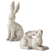 Resin Distressed Gray Bunny Standing Up.