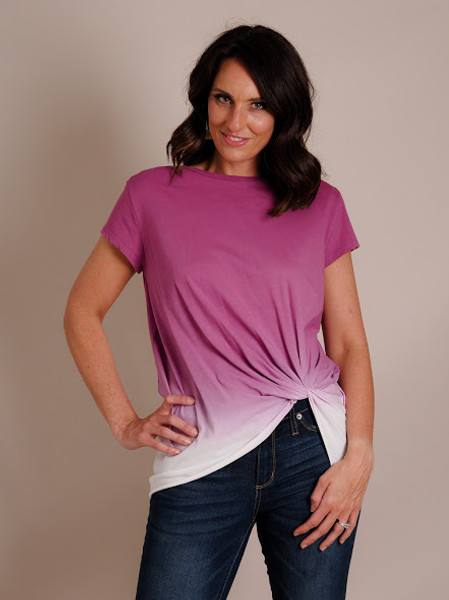 purple ombre top with scrunch detail