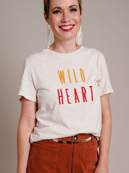 cream wild heart graphic T-shirt