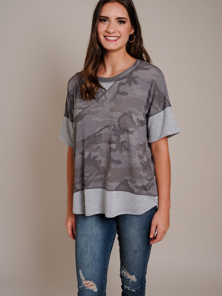camo print high low top gray