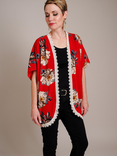 red floral print kimono with lace detail