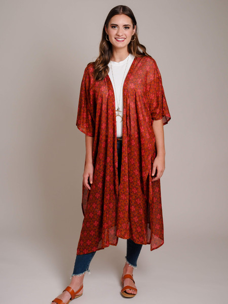 rust red brick colored kimono