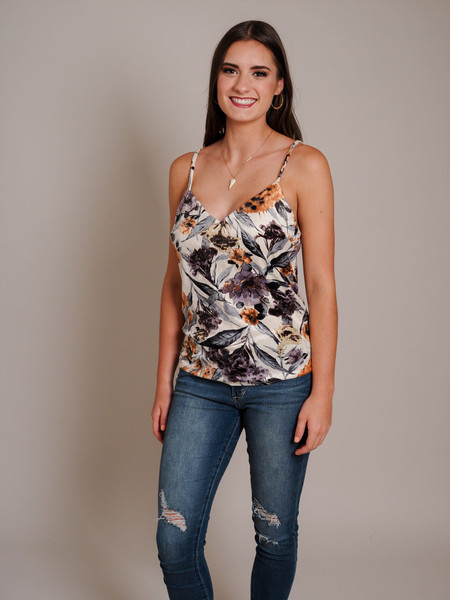 multi color cream purple floral print camisol