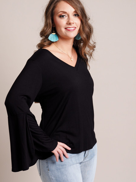 black navy tulip sleeve v-neck