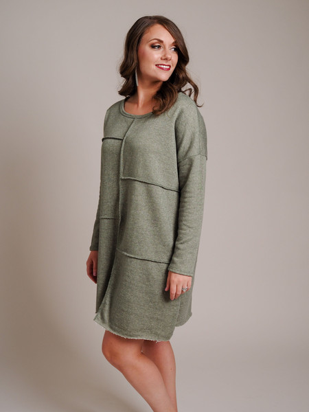 olive green frayed hem terrycloth tunic