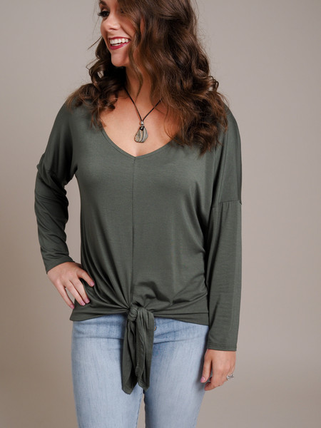 front tie olive green long sleeve