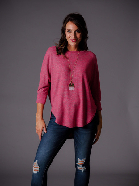 pink high/low knit tunic