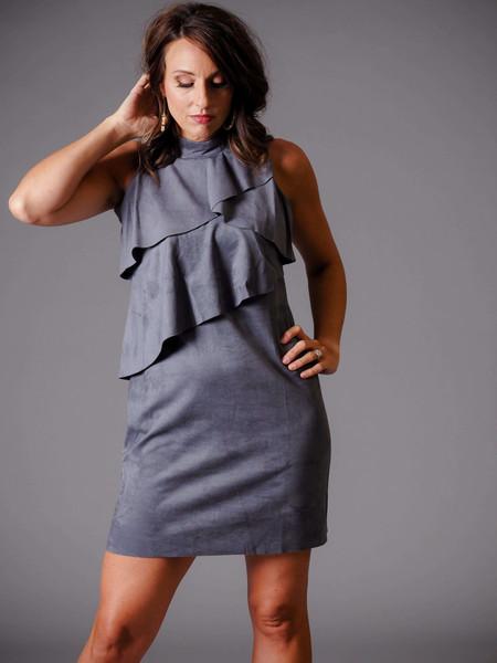 gray suede sleeveless dress