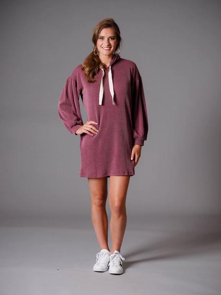 burgundy casual hooded rib dress