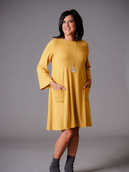 mustard yellow knit swing dress