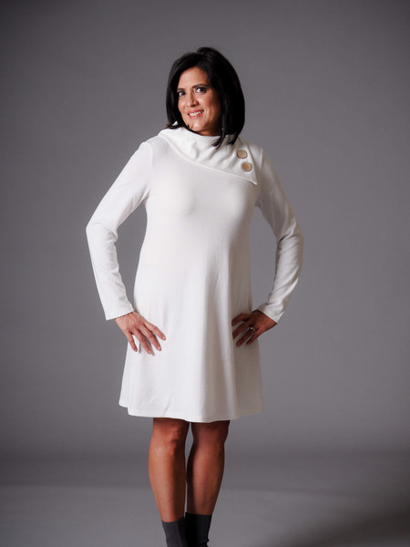 white cowl neck knit dress
