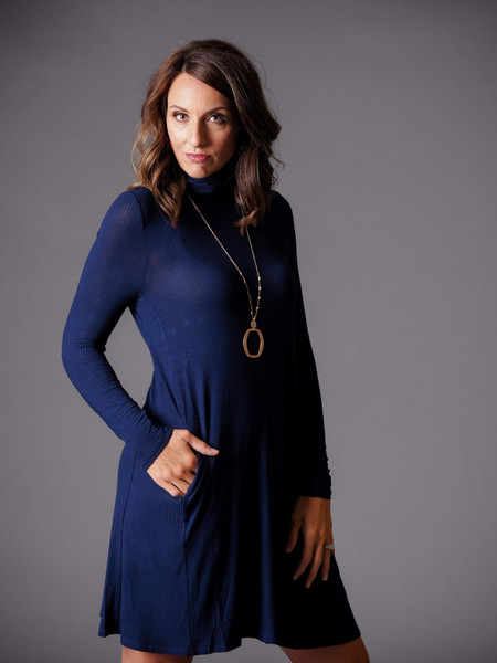 blue ribbed long sleeve turtleneck dress