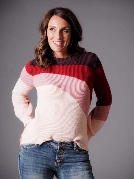 burgundy blush red multi color retro sweater