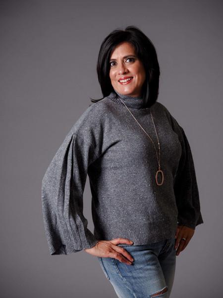 gray mock turtleneck knit confetti sweater