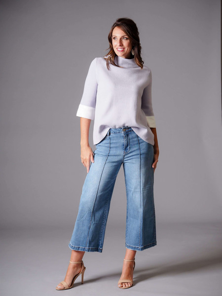 blue denim wide leg gaucho jean