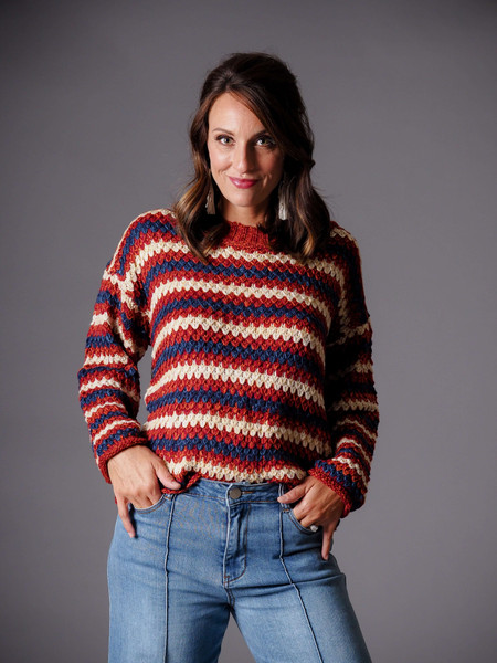 rust red burgundy blue crew neck striped sweater