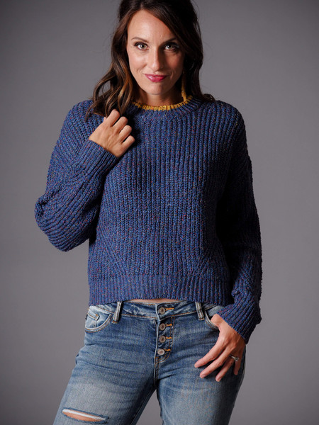 cropped blue sweater with yellow crew neck detail