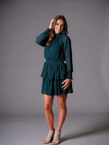 turquoise green smocked dress