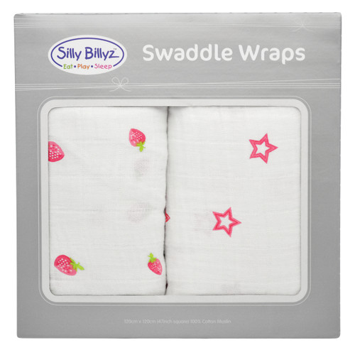 Strawberry Crush Muslin Swaddle Wrap 2pk