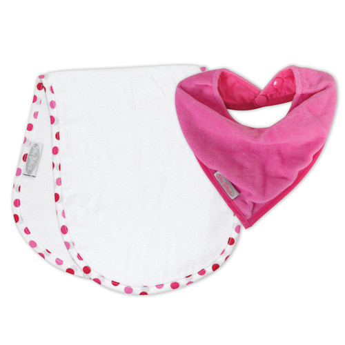 Cerise/Dot Shoulder & Bandana Bibs pack