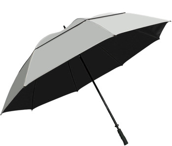 "Suntek 68"" Reflective UV Protection Windcheater Umbrella with Vented Double Canopy (Silver/Black)"
