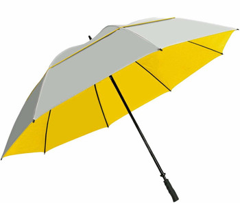 "Sun Tek 68"" UV Protection Wind Cheater Vented Canopy Umbrella (Silver/Yellow)"