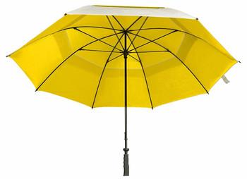 "Sun Tek 68"" UV Protection Wind Cheater Vented Canopy Umbrella (Silver/Yellow)"