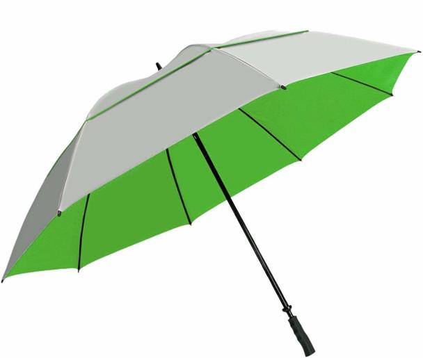 "Sun Tek 68"" UV Protection Wind Cheater Vented Canopy Umbrella (Silver/Green)"