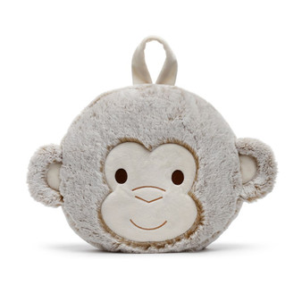 Macey monkey pillow and blanket set - blue
