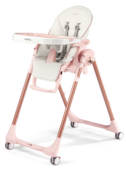 PRIMA PAPPA ZERO 3| High Chairs and Booster Seats (Mon Amour White eco leather with Pink & Rose Gold accents)